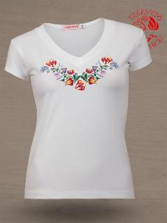 Szervető - Hímzett női póló kalocsai mintával - fehér