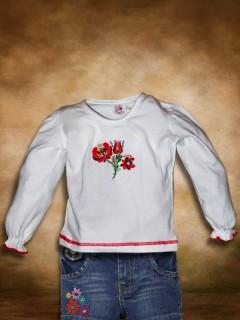 Szervető Lányka Hosszú ujjú póló - Matyó hímzéssel
