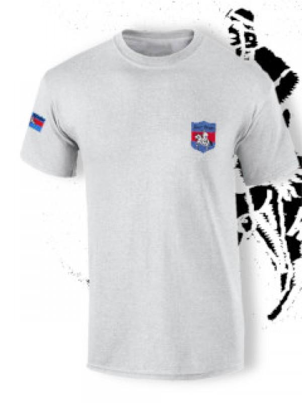 89cce822eb Hímzett póló Hun harcos logoval - szürke