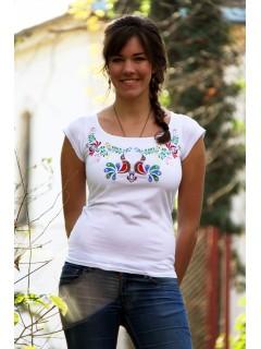 Hímzett színes madárkás matyó póló- fehér