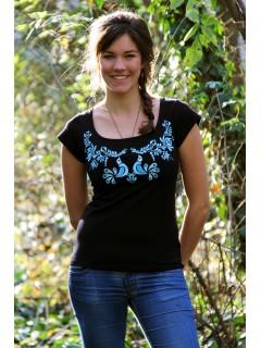 hímzett kék madárkás matyó póló- fekete