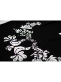 Hímzett fehér madárkás matyó póló- fekete