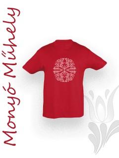 Mezőcsáti mintás gyerek póló - piros