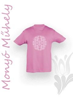 Mezőcsáti mintás gyerek póló - rózsaszín