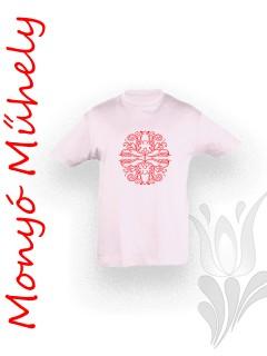 Mezőcsáti mintás gyerek póló - világos rózsaszín