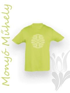 Mezőcsáti mintás gyerek póló - zöld