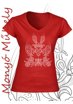 Tiszavirág női póló - piros