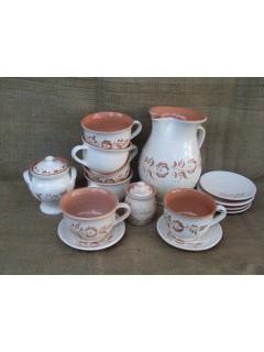 6 fős teljes teáskészlet csészével
