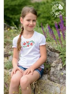 Szervető-tulipános lányka póló-fehér