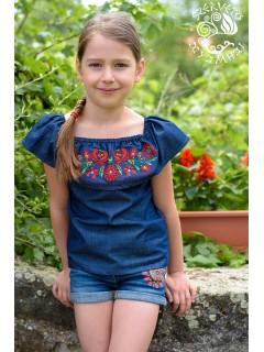 Szervető-matyó fodros vállú lányka blúz - farmer