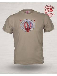 Világfán ülő turul póló - bézs