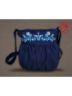 Szervető-jászsági indás-leveles buggyos táska - kék