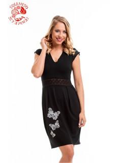 Villő ruha Szervető-csipke pillangó hímzéssel - fekete