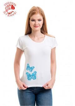 Szervető-csipke pillangó O póló - fehér