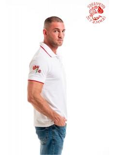 Szervető-matyó piké póló - fehér