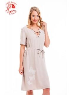 Cecília ruha Szervető-csipke pillangó hímzéssel - mályva